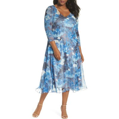 Plus Size Komarov Chiffon & Charmeuse A-Line Dress, Blue