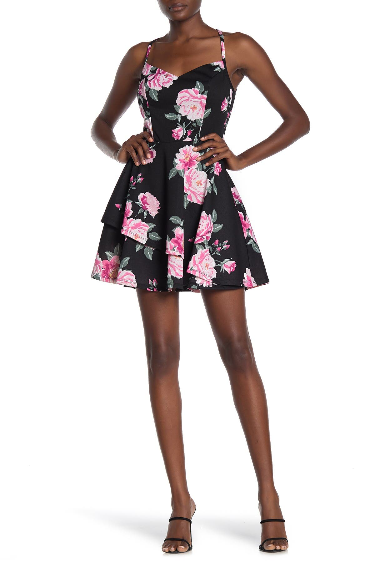 Image of ROW A Lace Back Floral Mini Dress