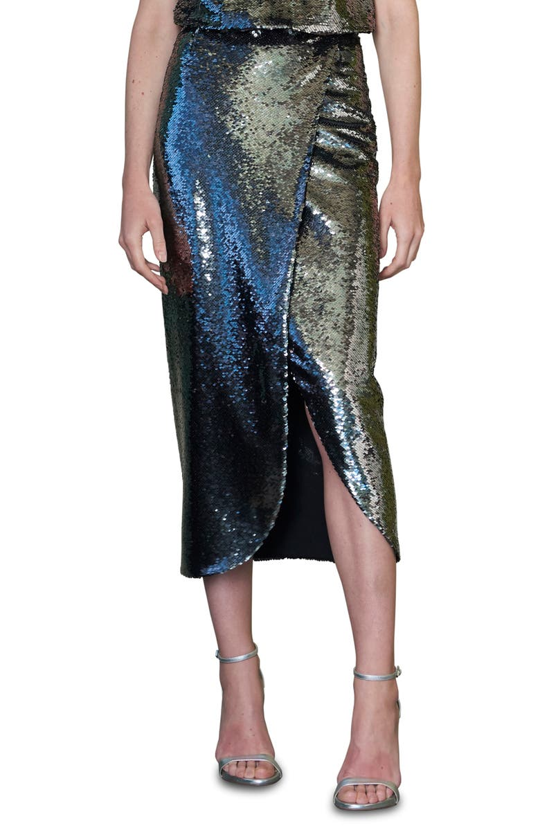 ML MONIQUE LHUILLIER Sequin Midi Skirt, Main, color, SILVER