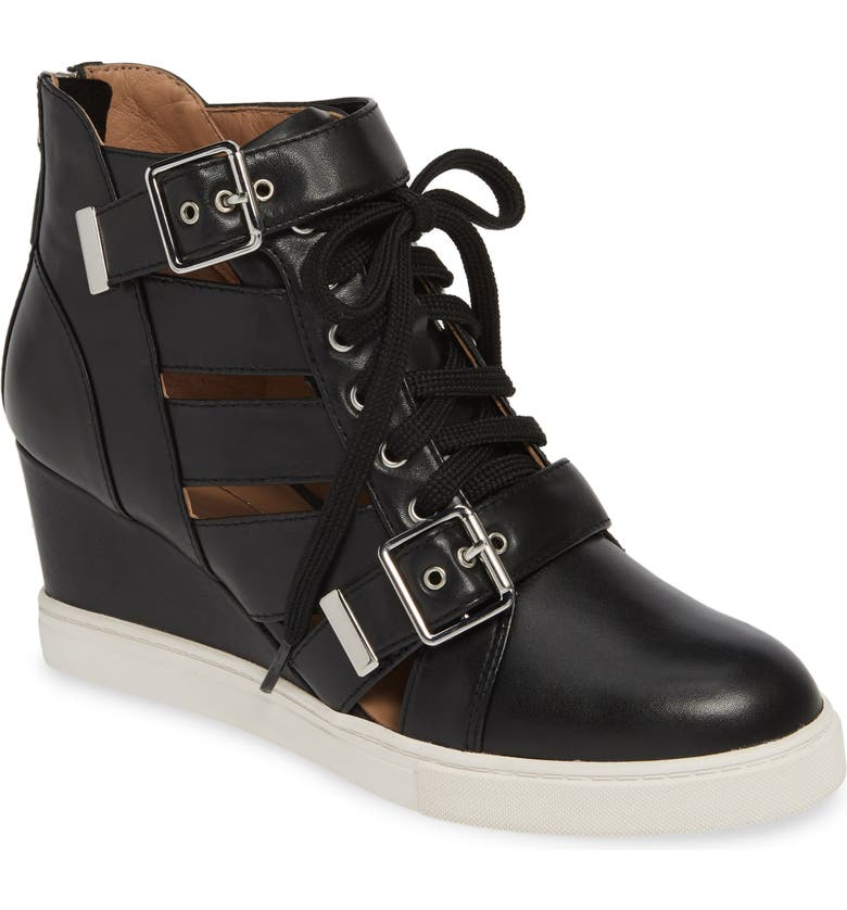 LINEA PAOLO Fave Cutout Wedge Sneaker, Main, color, BLACK LEATHER