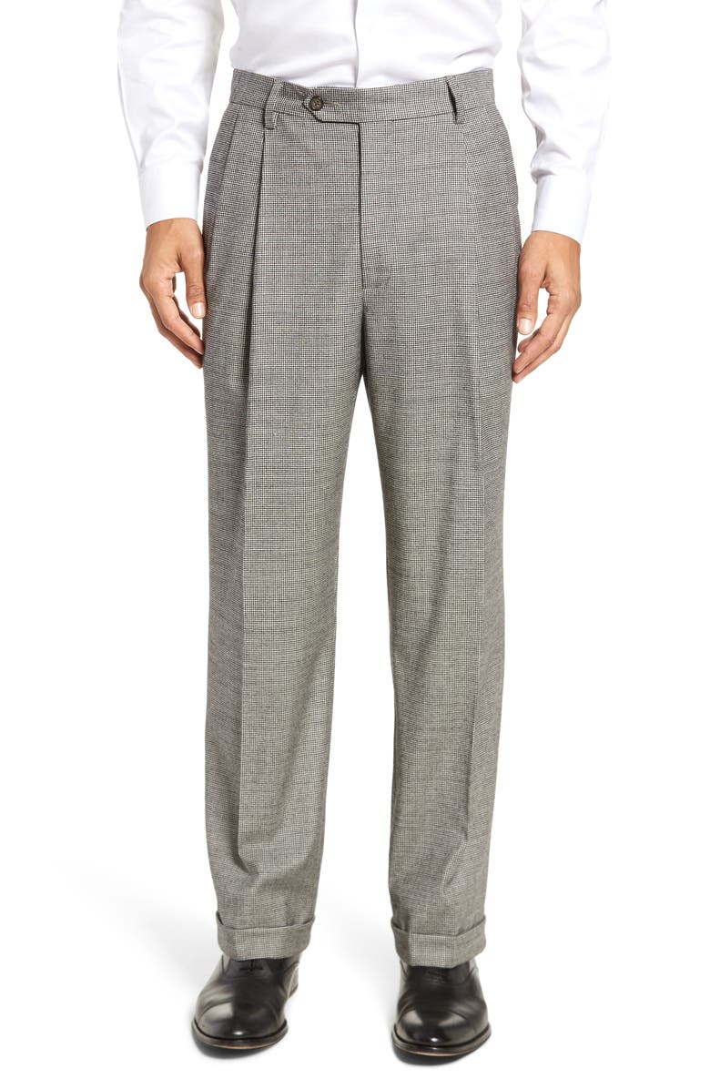 BERLE Pleated Classic Fit Stretch Houndstooth Wool Dress Pants, Main, color, BLACK/ WHITE