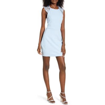 Speechless Lace Back Body-Con Sheath Dress, Blue