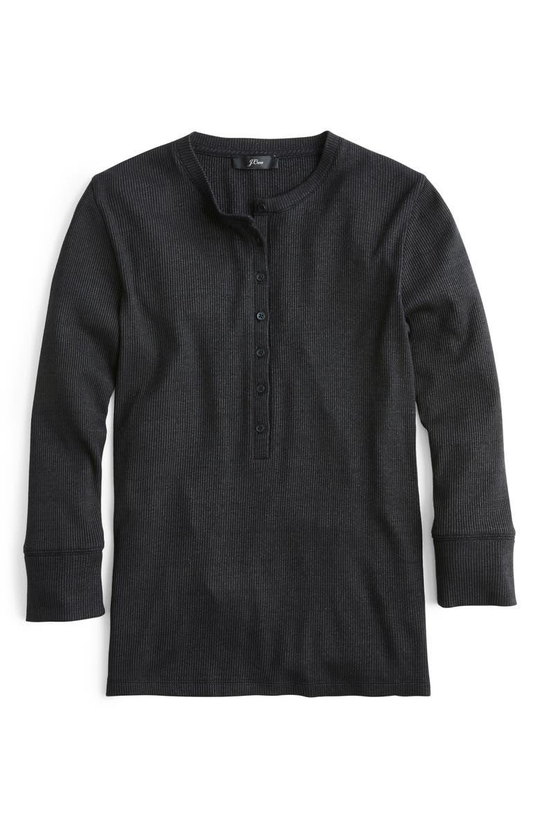 J.CREW Ribbed Three-Quarter Sleeve Henley, Main, color, BLACK