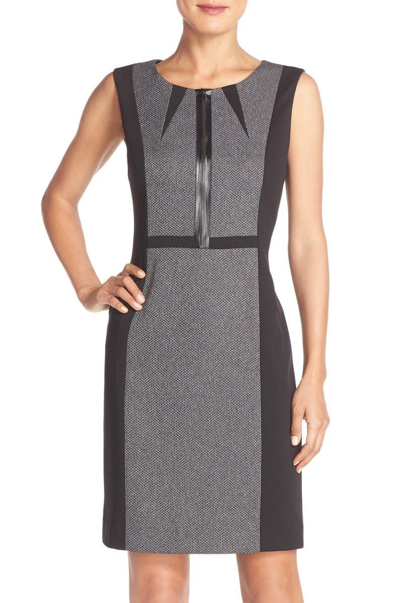 TAHARI Front Zip Colorblock Sleeveless Sheath Dress, Main, color, 060