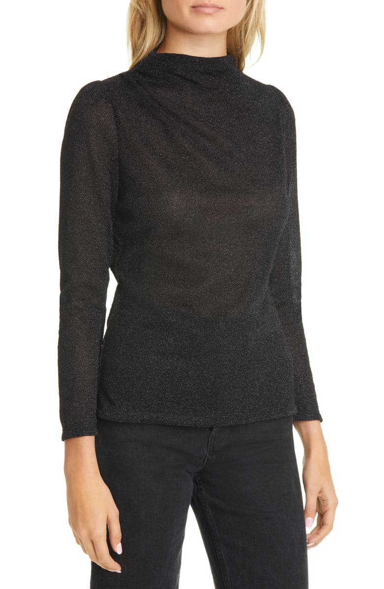 REBECCA TAYLOR Metallic Jersey Mock Neck Top, Main, color, BLACK COMBO