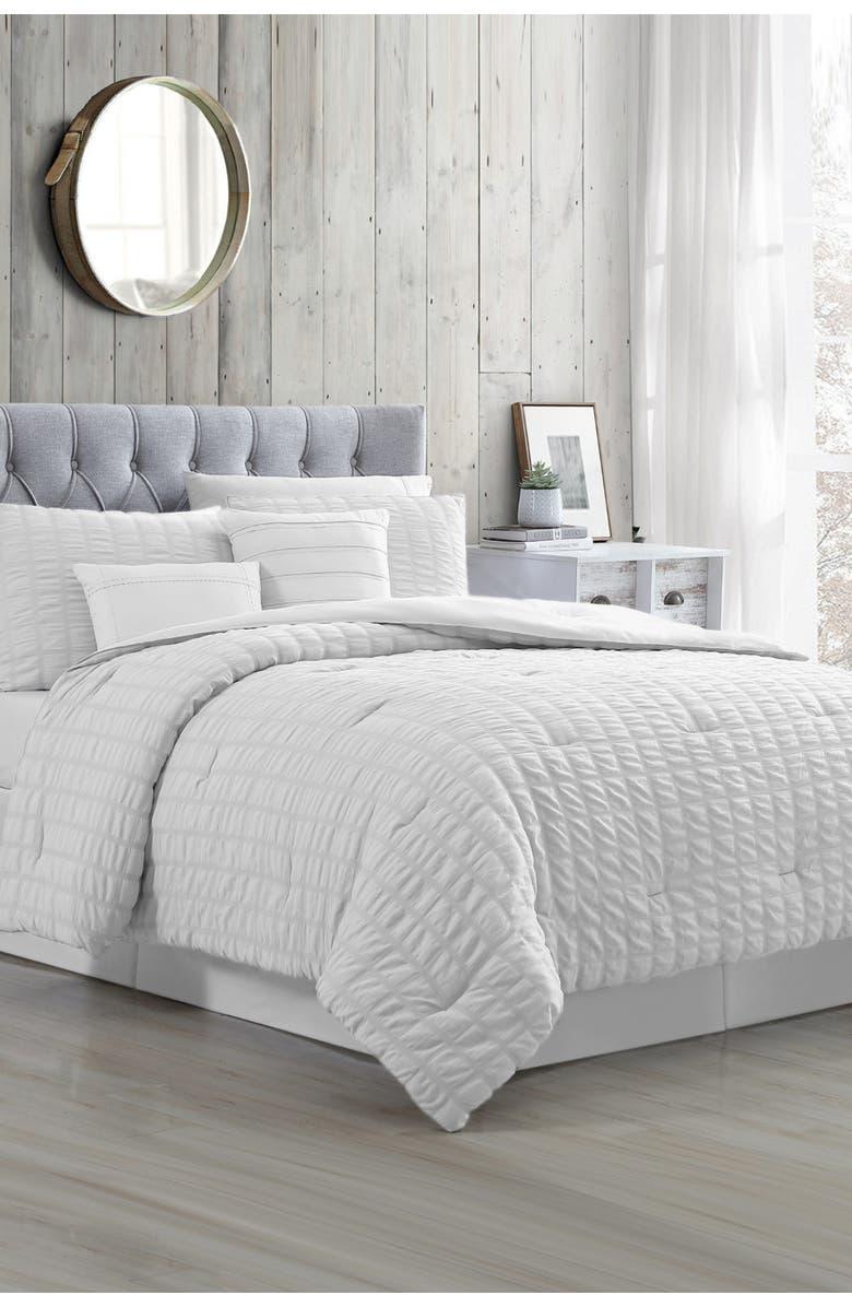 MODERN THREADS 5-Piece Seersucker Comforter Set - Kane White - King, Main, color, WHITE
