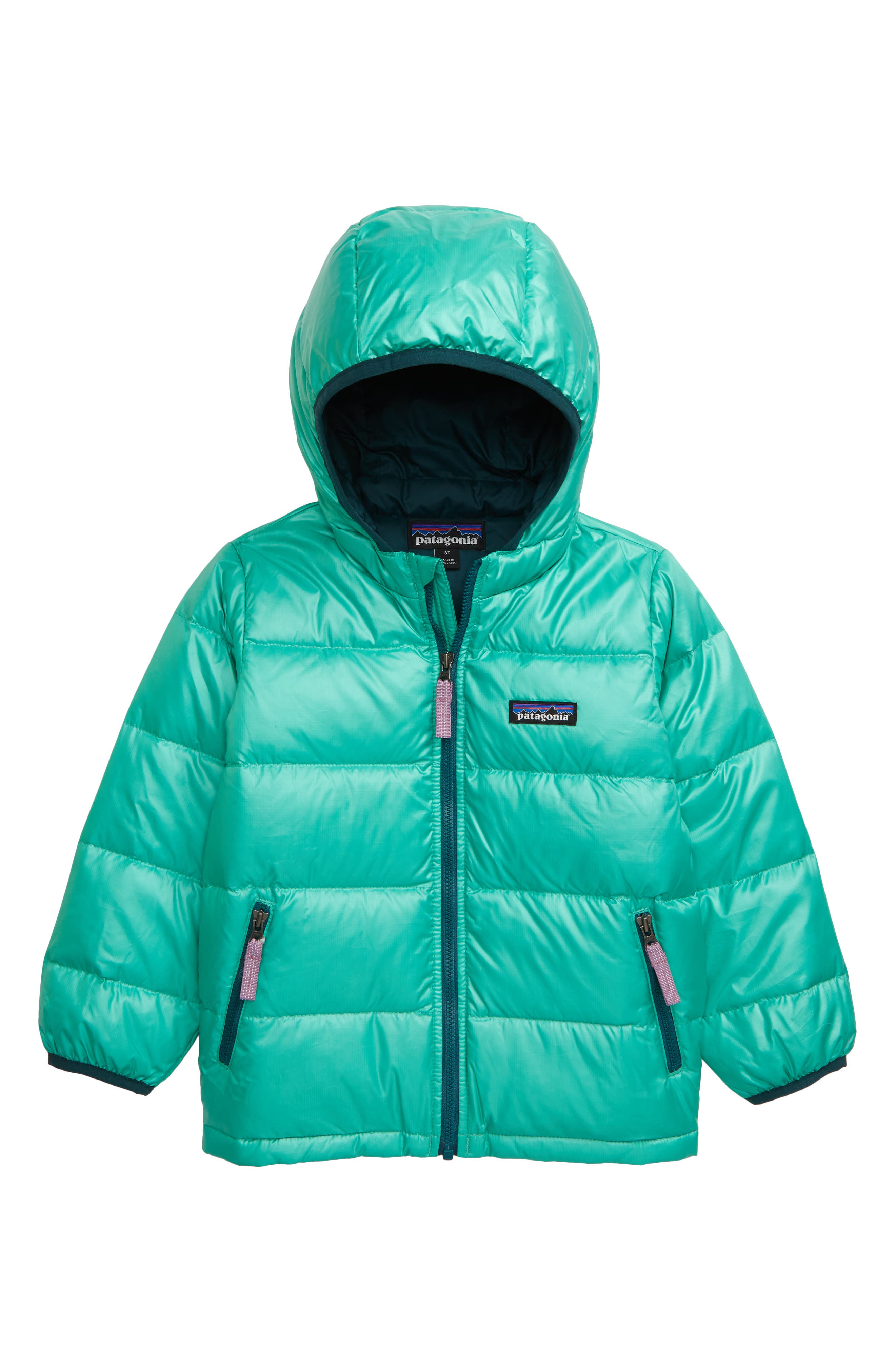 Keep your little one toasty warm in a channel-quilted front-zip jacket insulated with deliciously cozy (and oh-so-compressible) 600-fill-power duck down. A three-panel hood offers a stay-put fit, while elasticized hems fend off the wintry chill. Style Name: Patagonia Down Jacket (Toddler Girl). Style Number: 5334529 3. Available in stores.