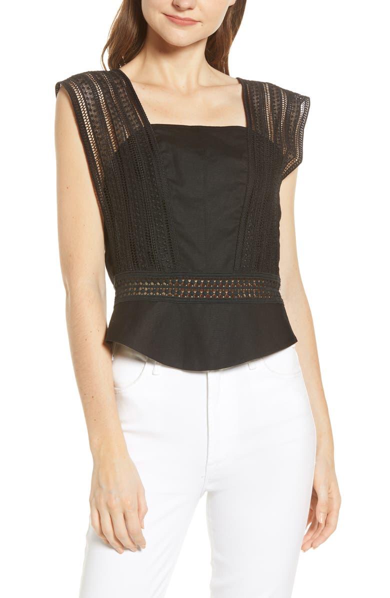 REBECCA MINKOFF Gina Linen Blend Top, Main, color, BLACK