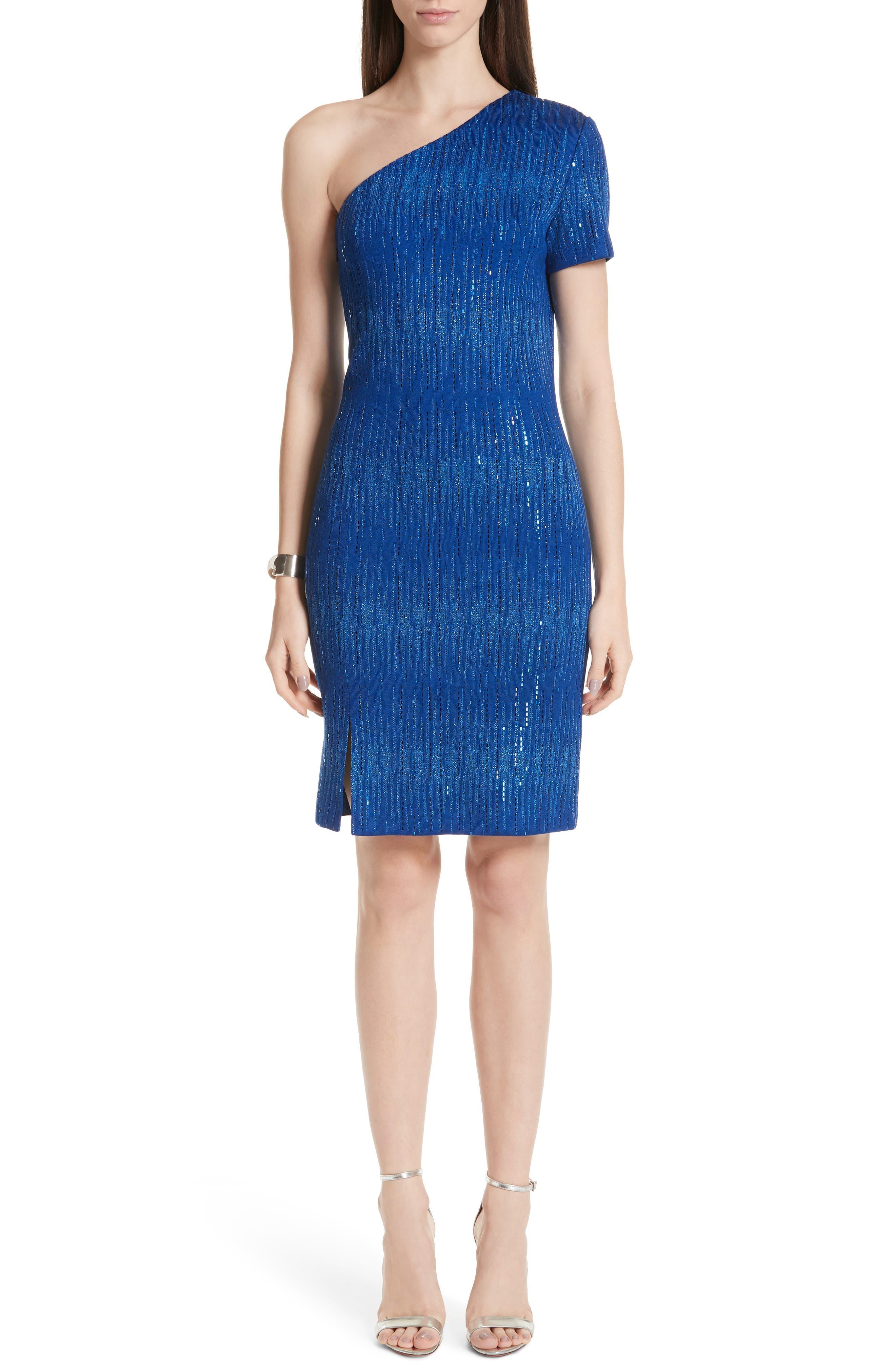 St. John Collection Carrie Knit One Shoulder Dress, Blue