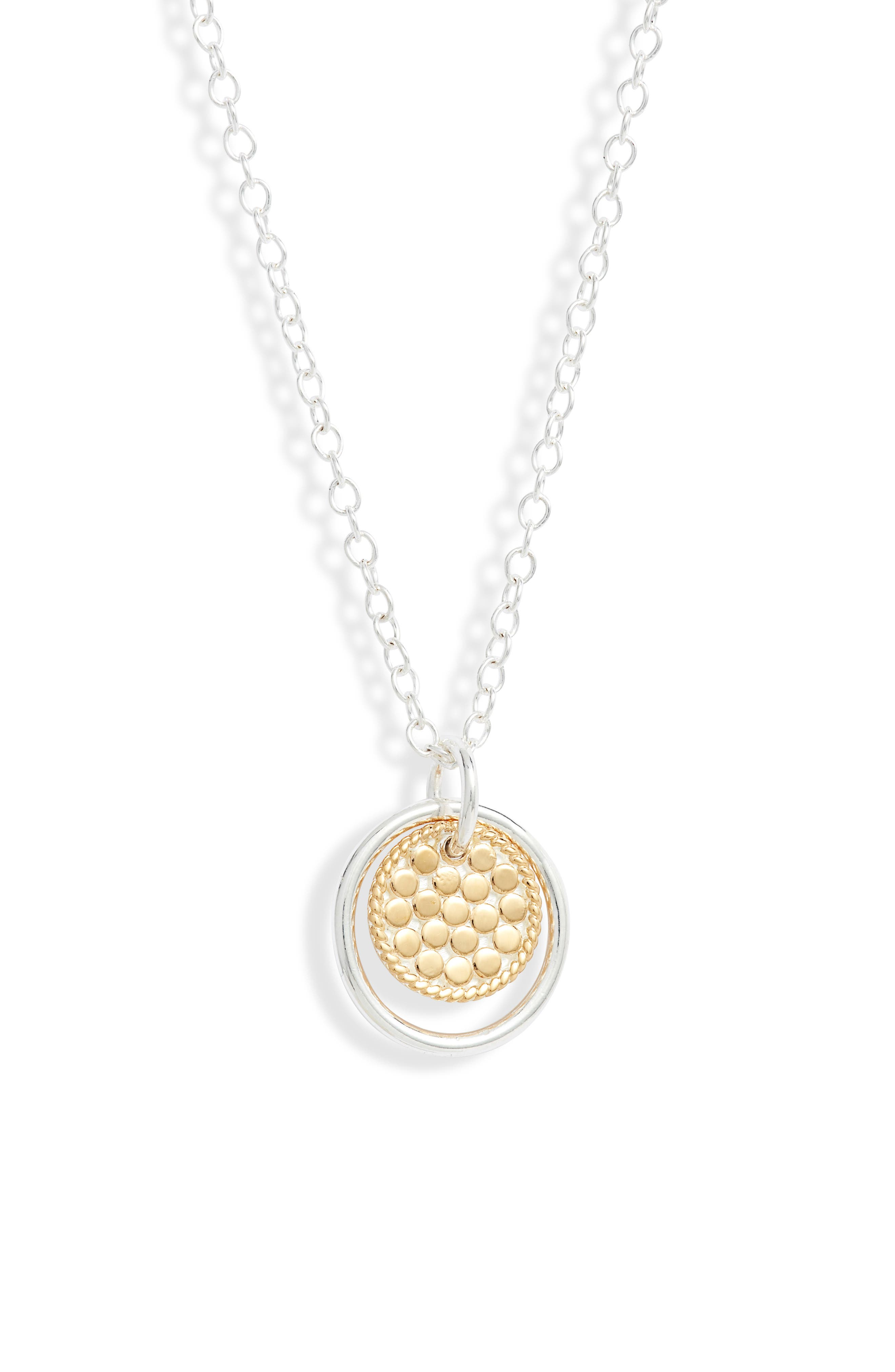 Smooth Dome Ring & Dotted Disc Pendant Necklace (Nordstrom Exclusive)