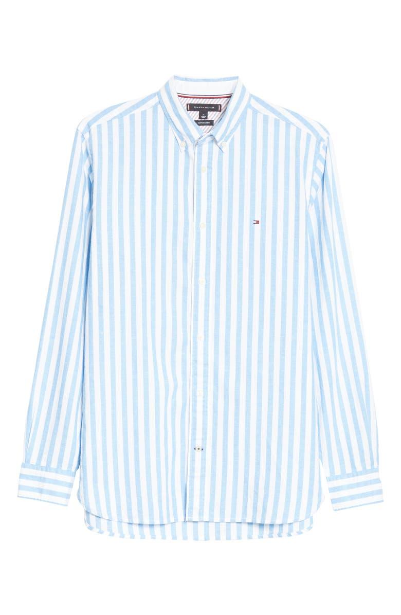 TOMMY HILFIGER Regular Fit Stripe Cotton & Linen Button-Down Shirt, Main, color, 400