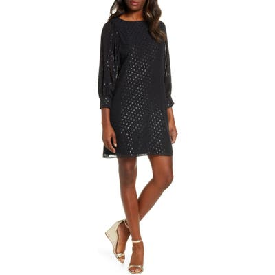 Lilly Pulitzer Maisel Metallic Clip Dot Silk Dress, Black