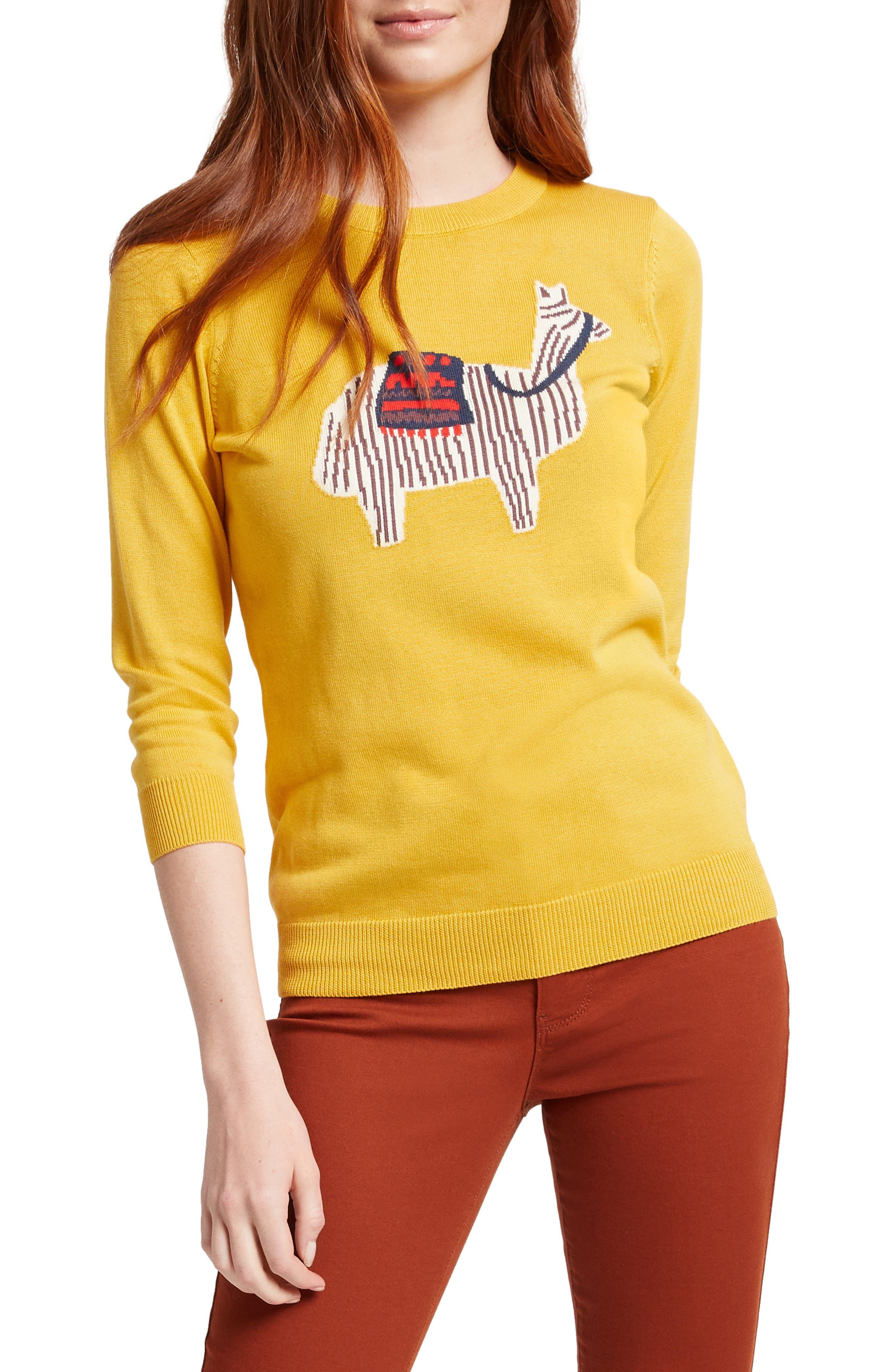 Plus Size Modcloth Llama Intarsia Sweater, Yellow