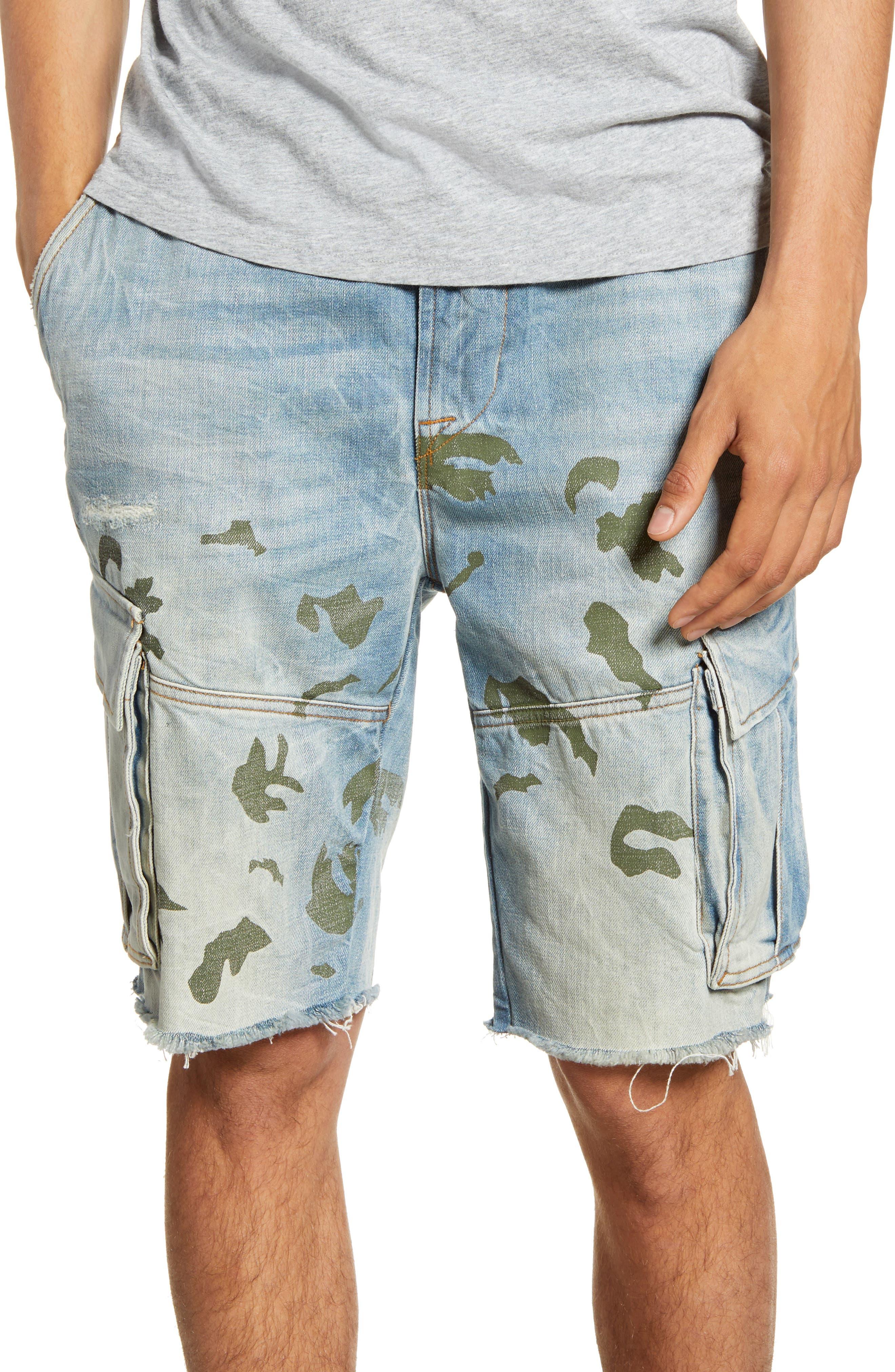 Hudson Jeans Cut Off Denim Cargo Shorts, Blue