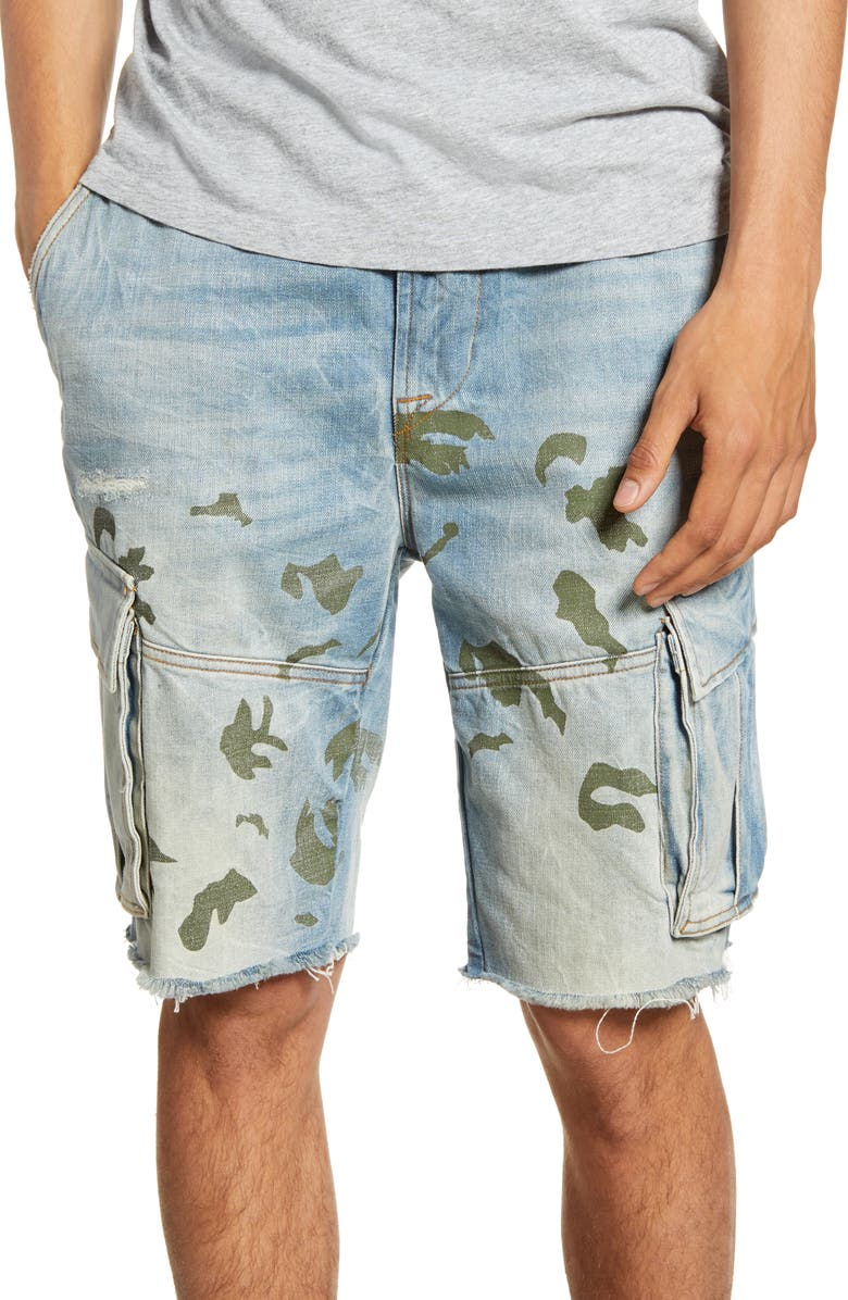 HUDSON JEANS Cut Off Denim Cargo Shorts, Main, color, WASHED OUT CAMO
