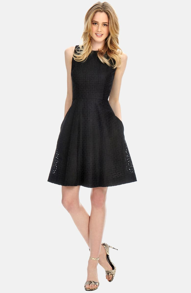 DONNA MORGAN Embroidered Organza Fit & Flare Dress, Main, color, 001