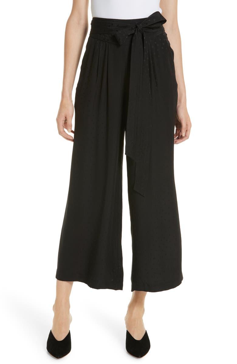 REBECCA TAYLOR Silk Jacquard Tie Waist Pants, Main, color, 001