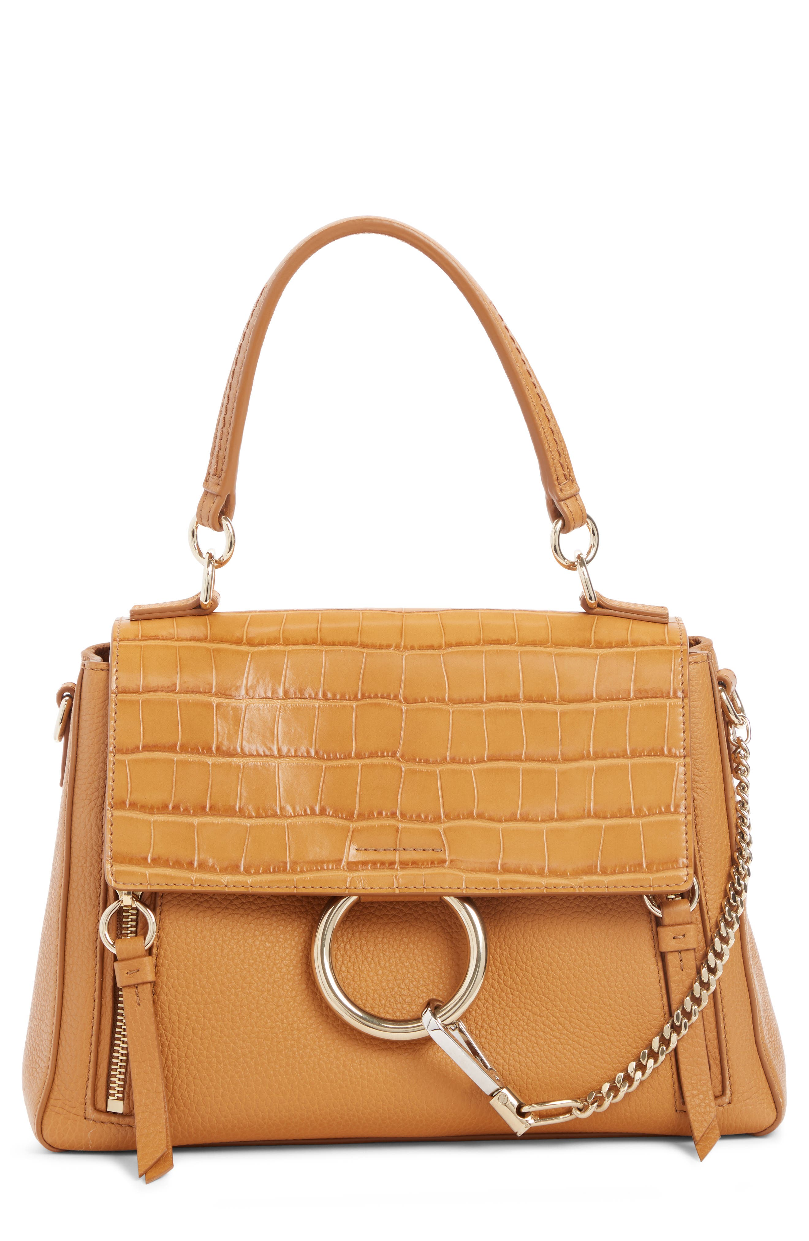 Chloé Small Faye Day Croc Embossed Leather Shoulder Bag | Nordstrom