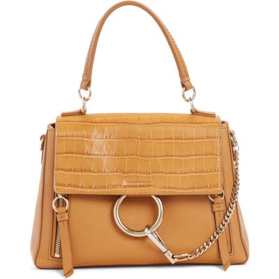Chloe Small Faye Day Croc Embossed Leather Shoulder Bag - Brown