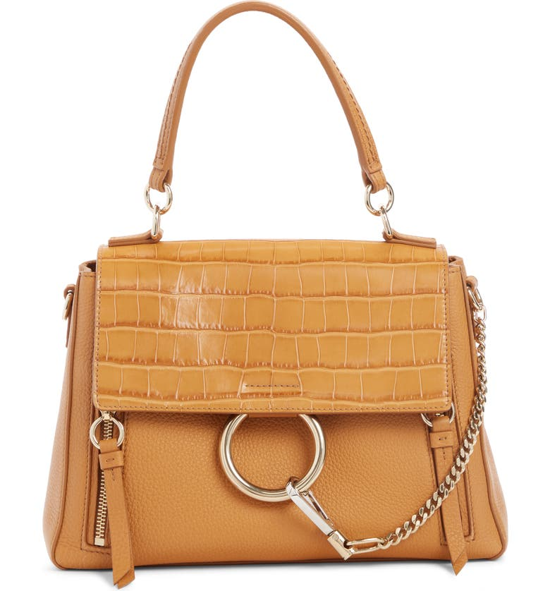CHLOÉ Small Faye Day Croc Embossed Leather Shoulder Bag, Main, color, AUTUMNAL BROWN