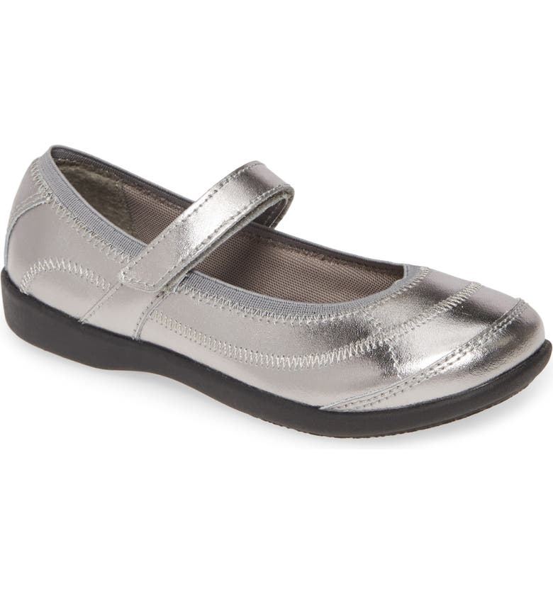 HUSH PUPPIES<SUP>®</SUP> Reese Metallic Mary Jane Flat, Main, color, PEWTER