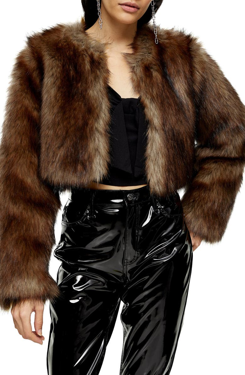 TOPSHOP Chubby Faux Fur Crop Coat, Main, color, BROWN
