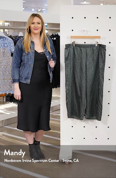 Print Wide Leg Silk & Cotton Crop Pants, sales video thumbnail