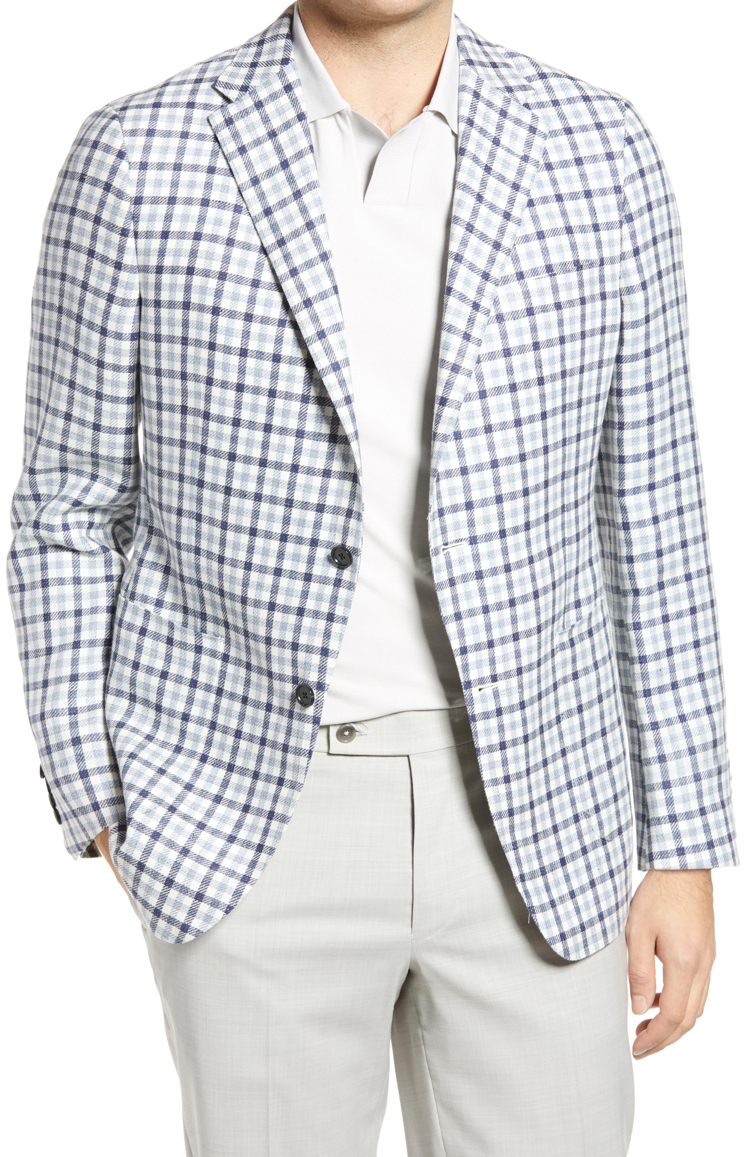 Classic Fit Check Linen & Wool Sport Coat