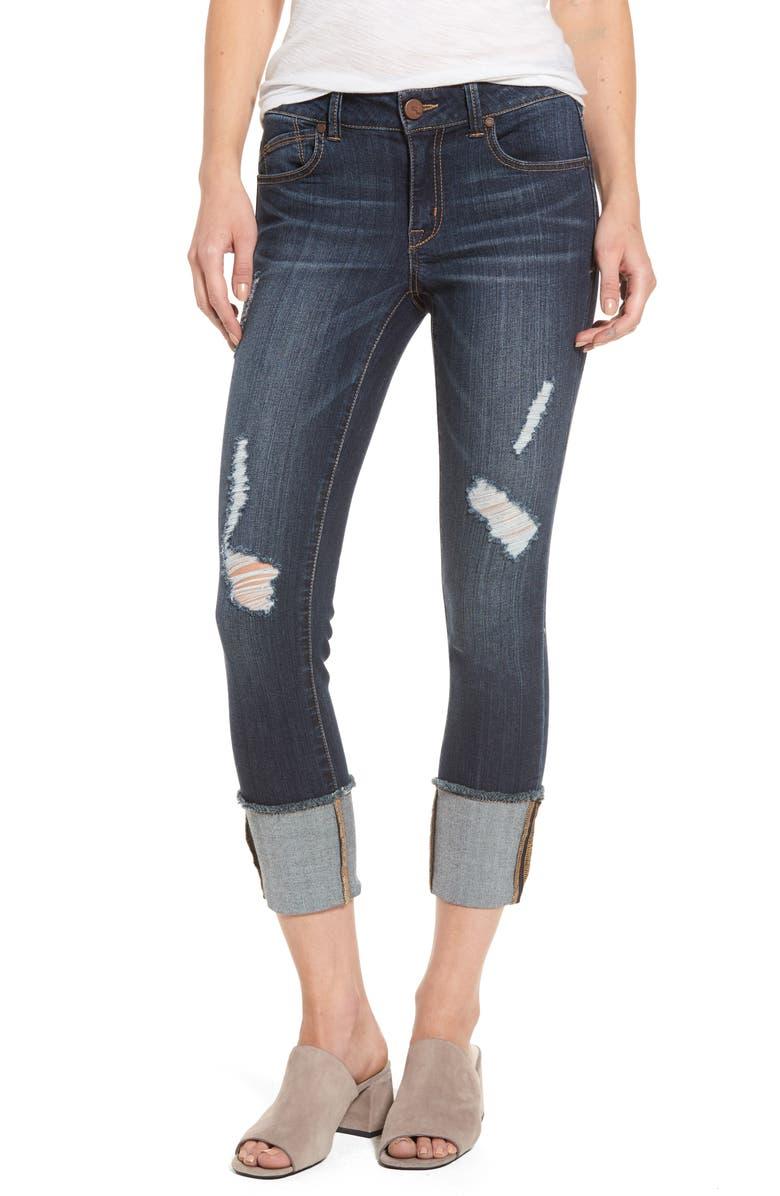 1822 DENIM Distressed Roll Cuff Jeans, Main, color, 426