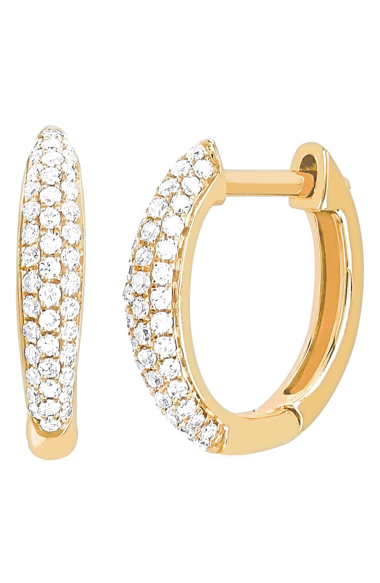 Mini Dome Diamond Huggie Earrings