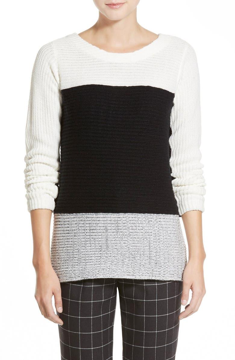 TROUVÉ Colorblock Sweater, Main, color, 020