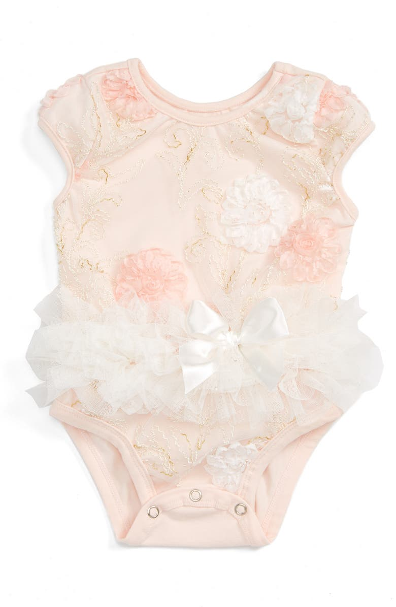 POPATU Floral Tutu Bodysuit, Main, color, PEACH
