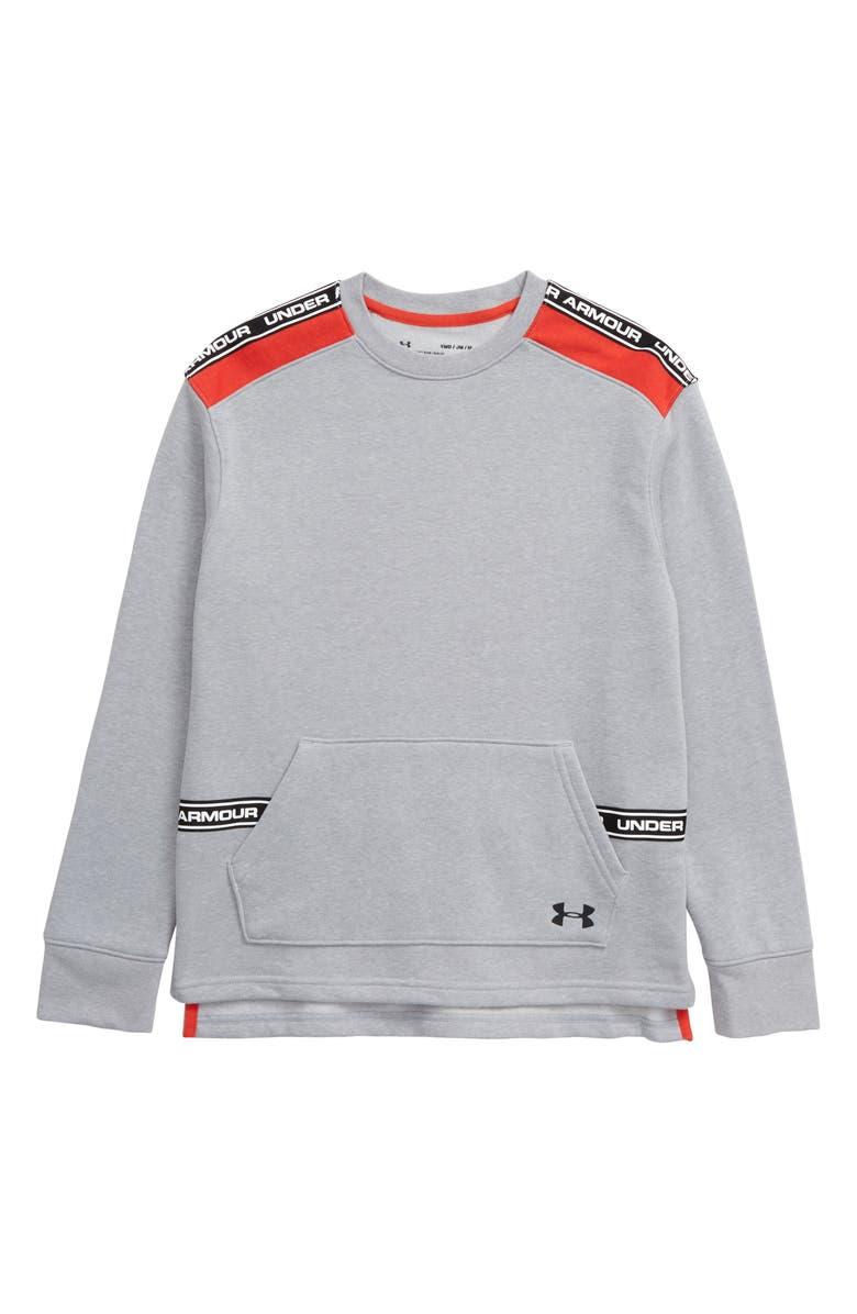 UNDER ARMOUR Sportstyle ColdGear<sup>®</sup> Fleece Sweatshirt, Main, color, MOD GRAY LIGHT HEATHER/ BLACK
