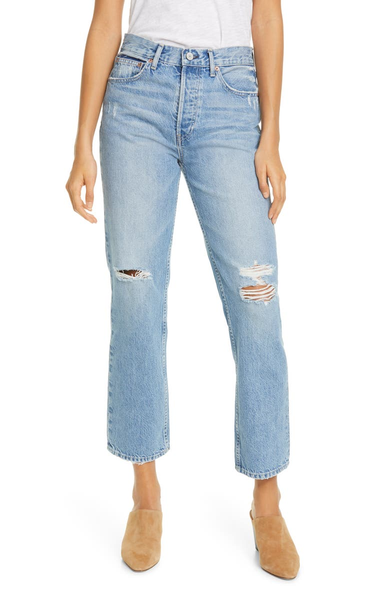 TRAVE Riley '90s Ripped High Waist Ankle Straight Leg Jeans, Main, color, TIME AFTER TIME