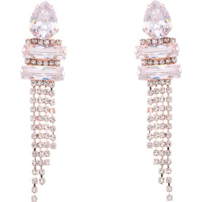 Nina Cup Chain Pave Fringe Earrings