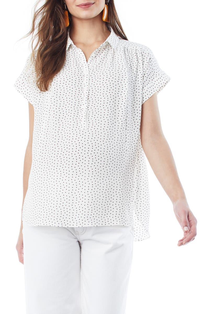 LOYAL HANA Shannon Maternity/Nursing Top, Main, color, WHITE POLKA