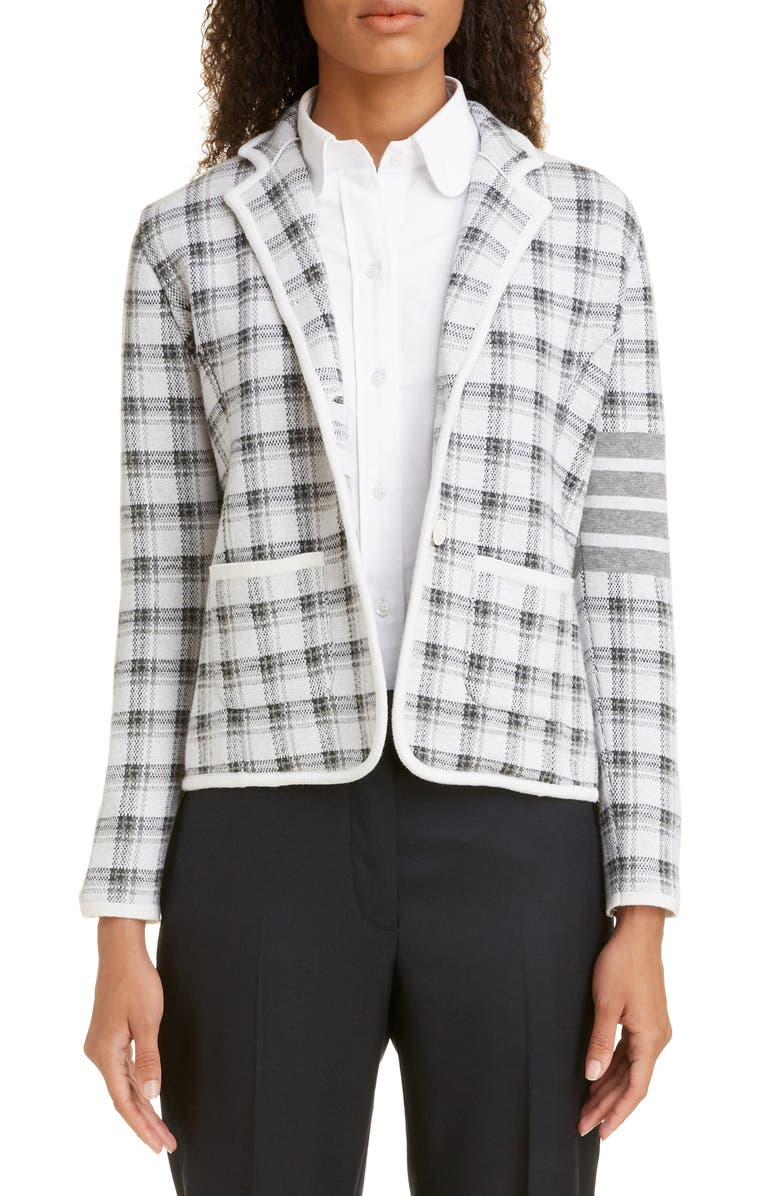 THOM BROWNE Check Jacquard Cashmere & Wool Sweater Jacket, Main, color, LIGHT GREY