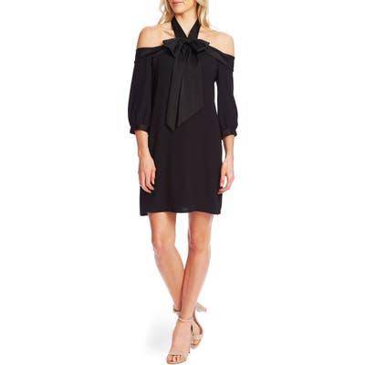 Cece Cold Shoulder Halter Neck Babydoll Dress, Black