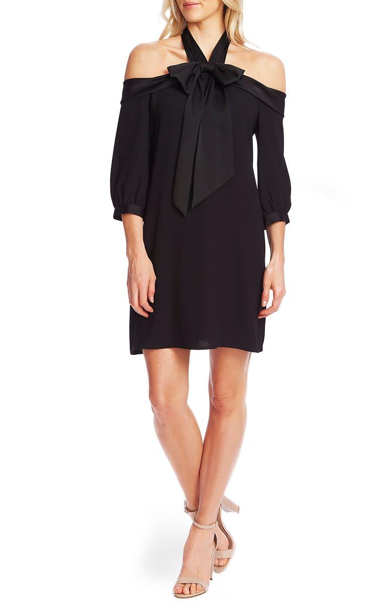 CECE Cold Shoulder Halter Neck Babydoll Dress, Main, color, RICH BLACK