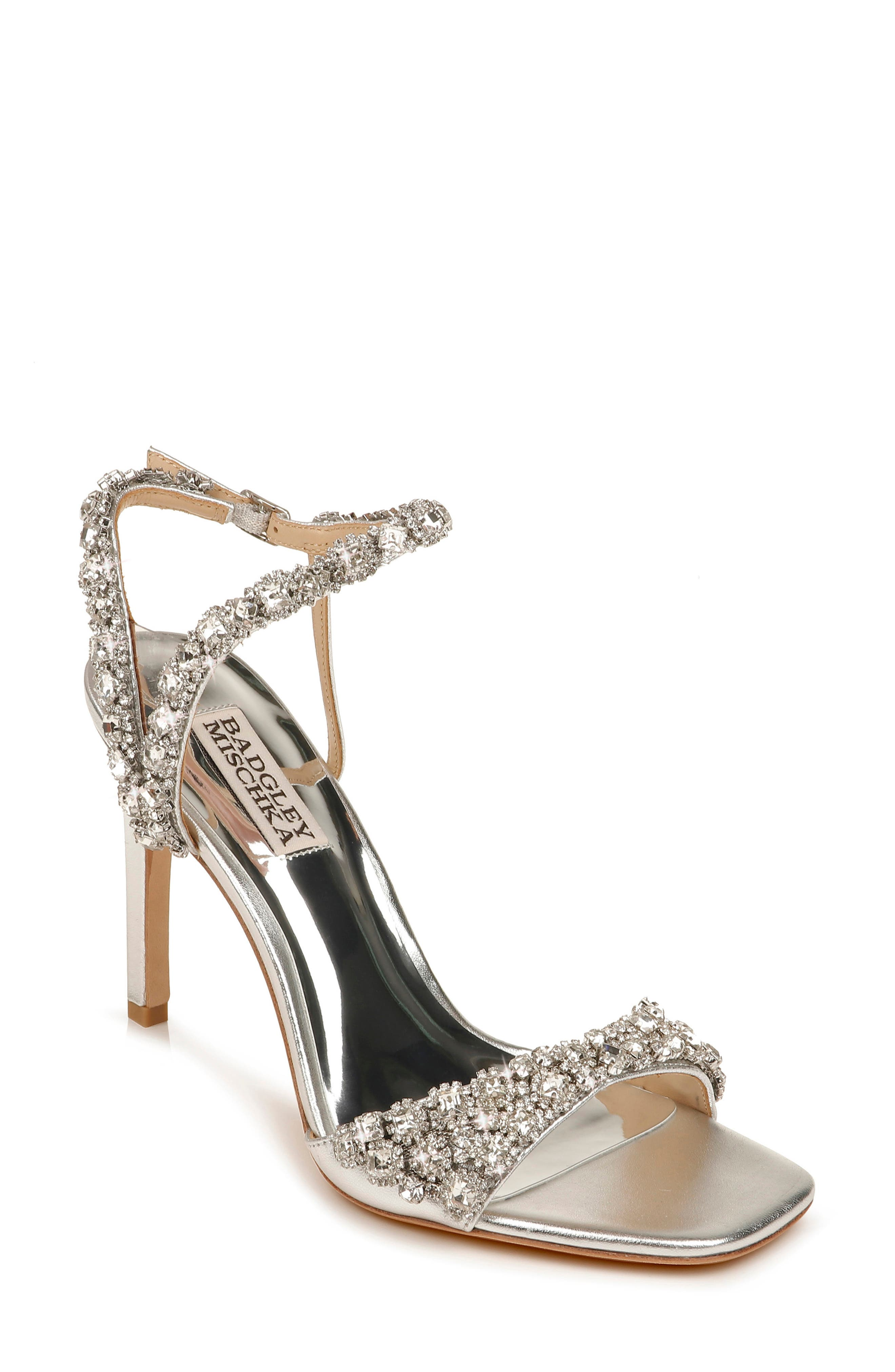 Sparkling crystals embellish the straps of an elegant sandal lifted by a metallic setback heel. Style Name: Badgley Mischka Galia Embellished Sandal (Women). Style Number: 6036685. Available in stores.