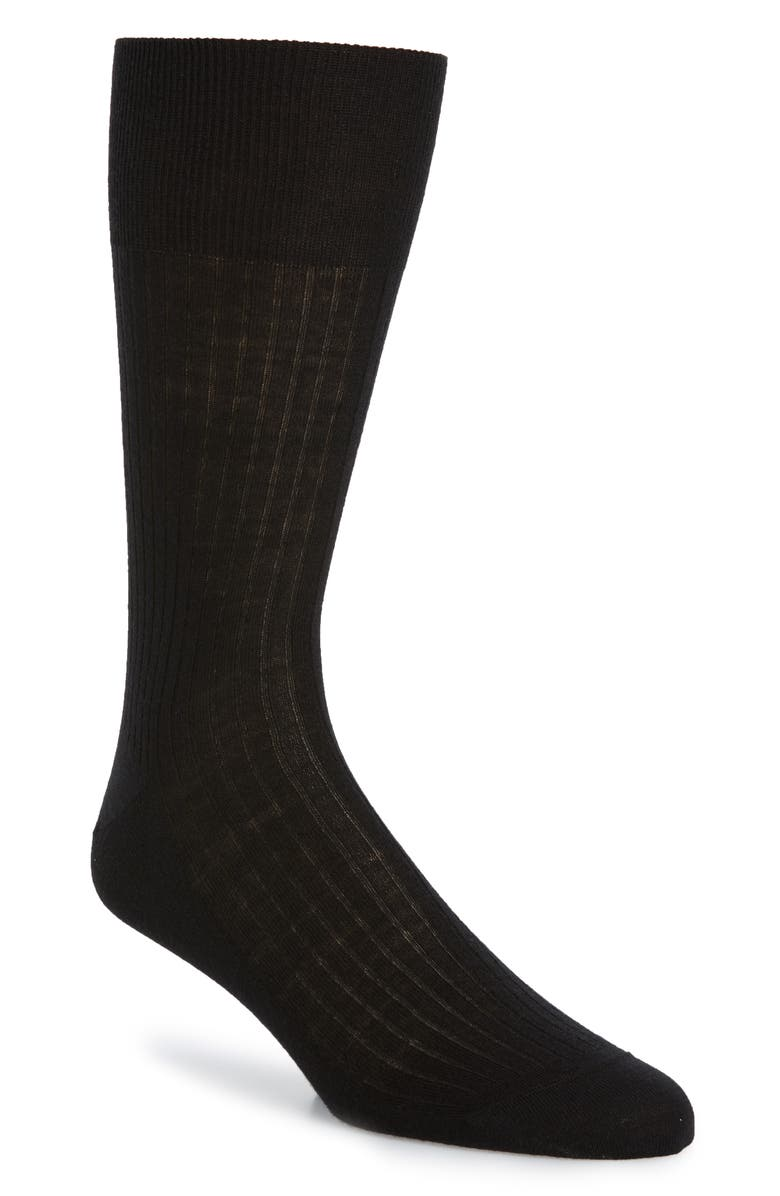 FALKE No. 7 Merino Wool Blend Dress Socks, Main, color, BLACK