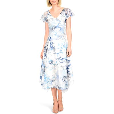 Komarov Floral Charmeuse & Chiffon Dress, Blue