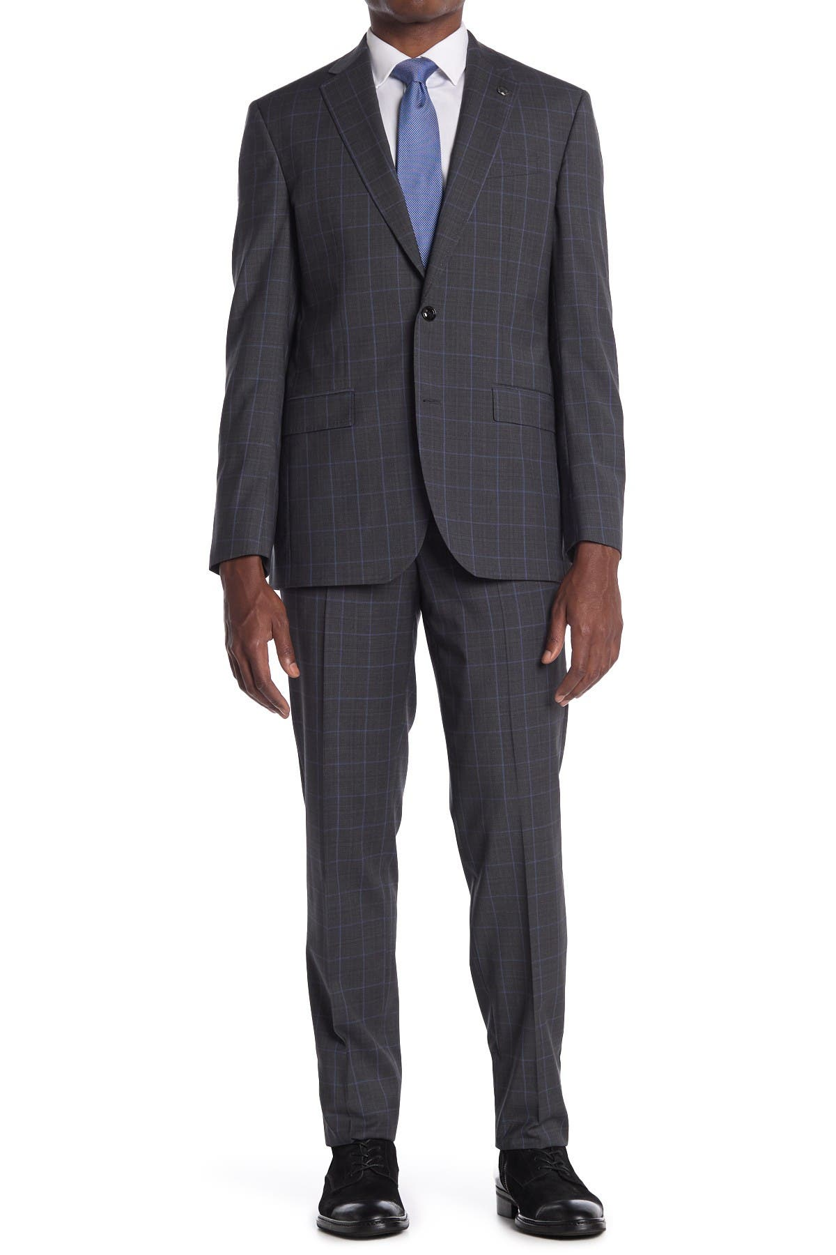 Image of Ted Baker London Jay Gray Plaid Two Button Notch Lapel Trim Fit Suit