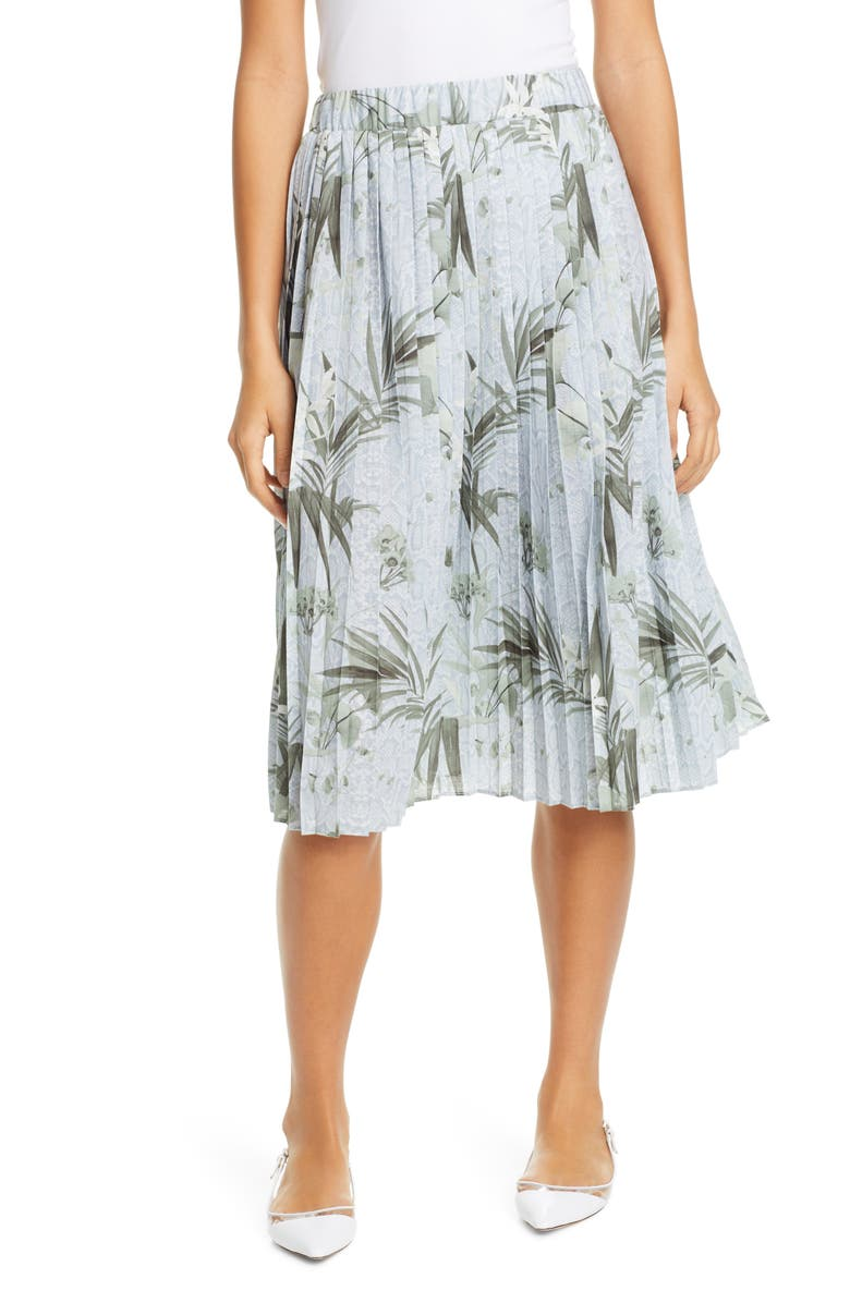 TED BAKER LONDON Estie Highland Pleated Jersey Skirt, Main, color, GREY