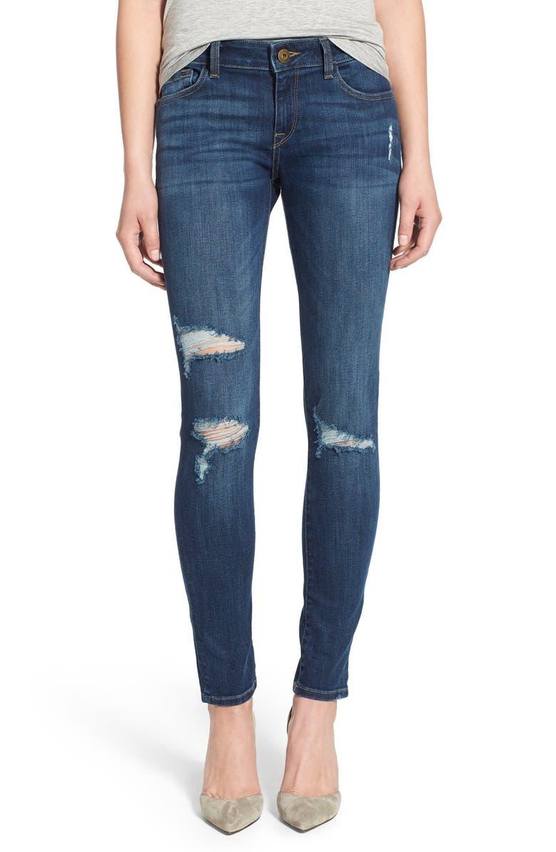 DL1961 'Amanda' Destroyed Skinny Jeans, Main, color, 405