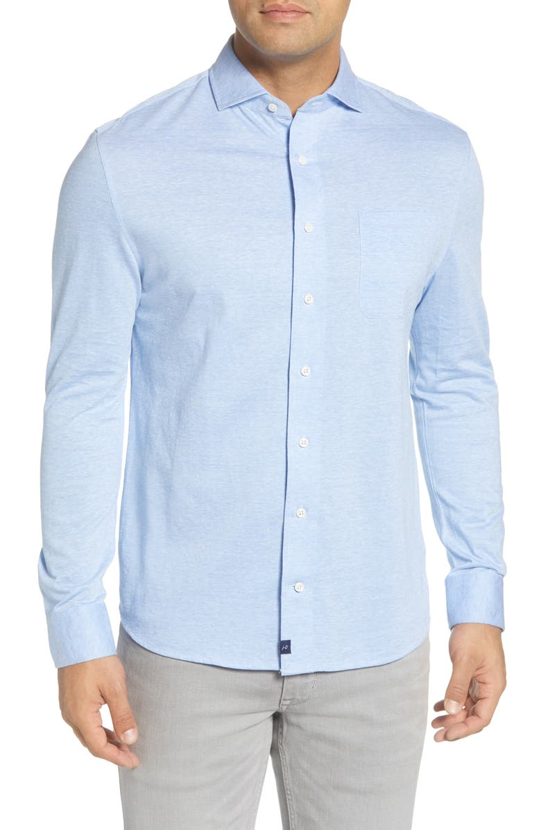 JOHNNIE-O Hangin' Out Hector Linen Blend Knit Button-Up Shirt, Main, color, GULF BLUE