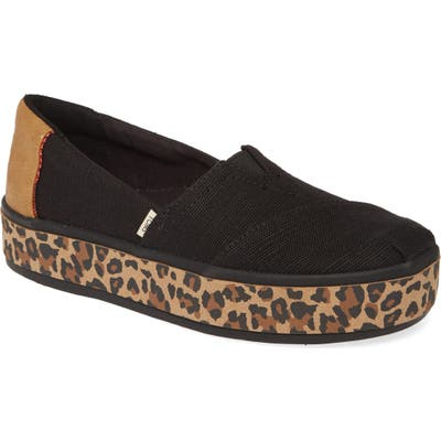 Toms Alpargata Boardwalk Platform Slip-On, Black