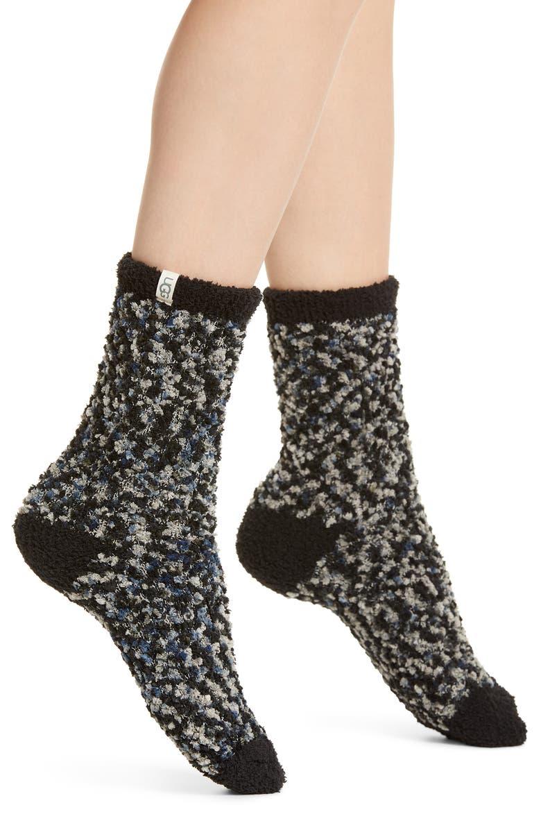 UGG<SUP>®</SUP> Australia Chenille Crew Socks, Main, color, BLACK / GREY