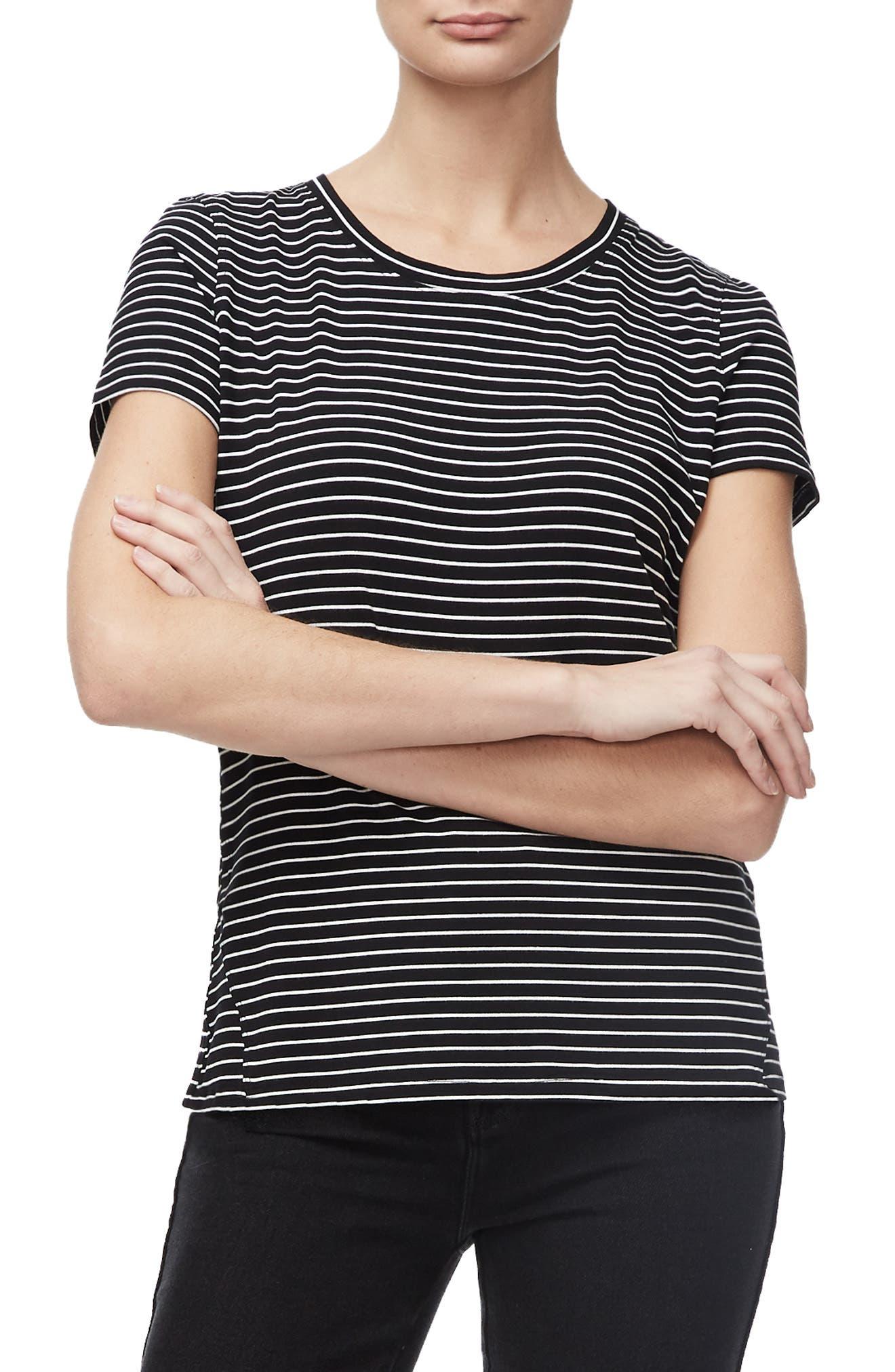 Good American Basic Stripe Tee, Black