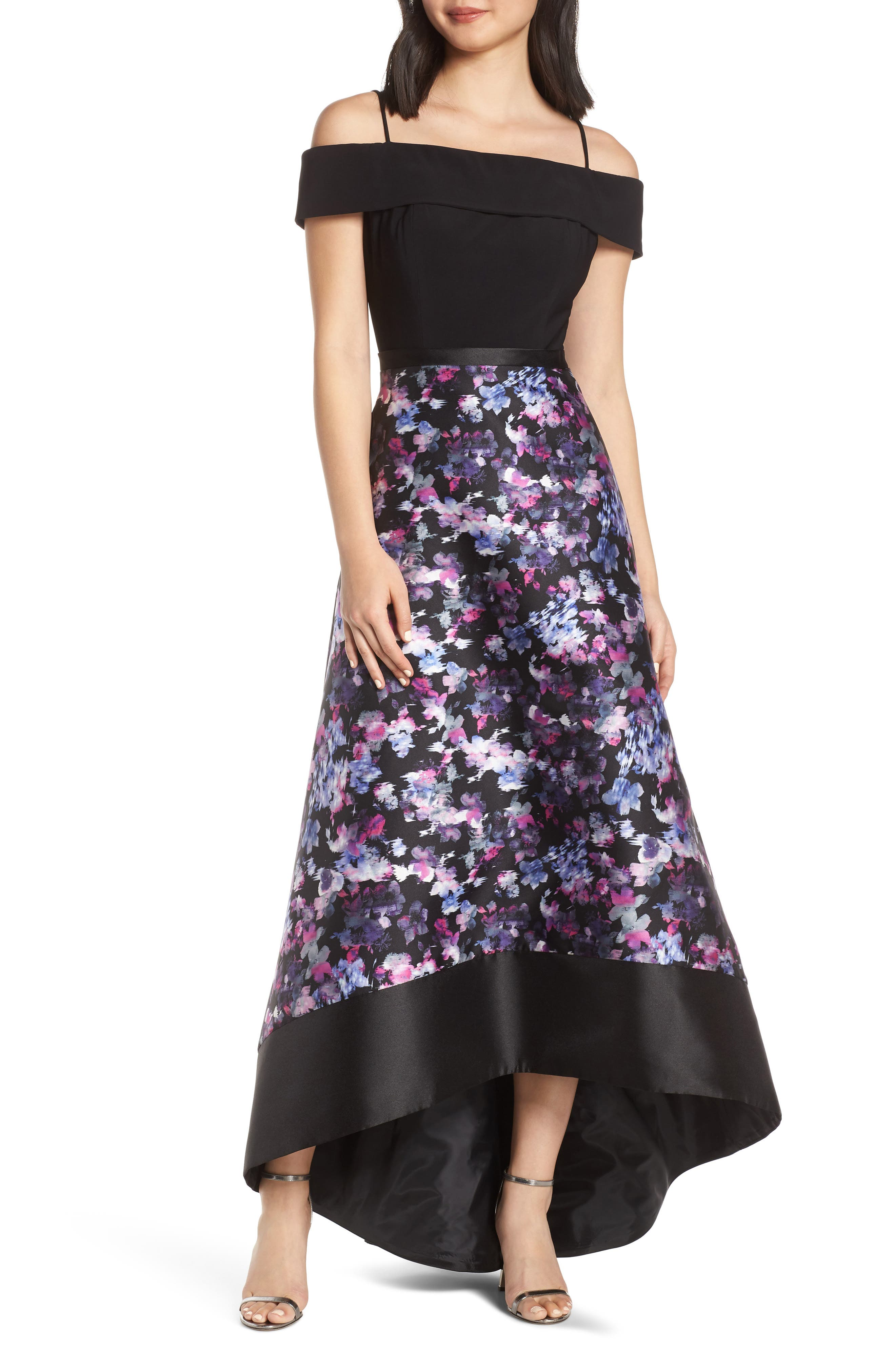 Morgan & Co. Cold Shoulder Mikado High/low Hem Evening Dress, Black